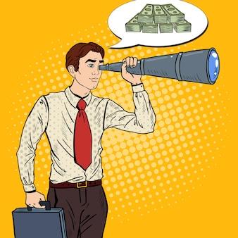 スパイグラスでお金を探しているポップアートのビジネスマン。