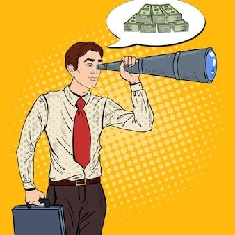 Pop art businessman looking for money in spyglass.