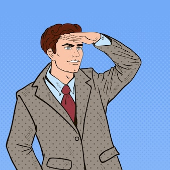 Pop art businessman looking for success.