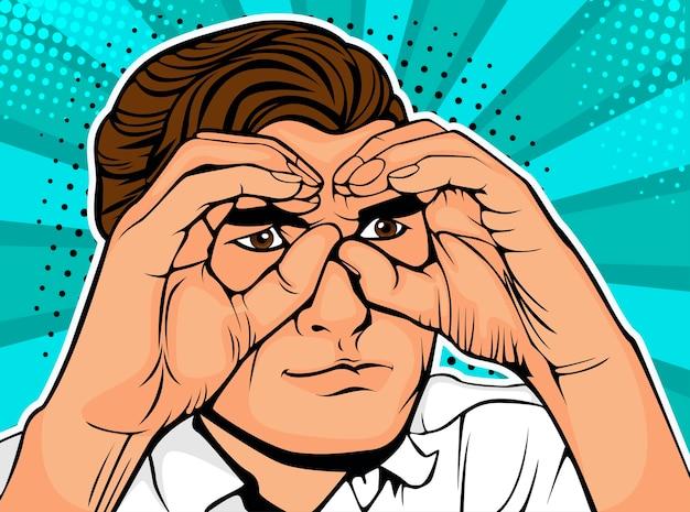 Pop art businessman looking through binoculars