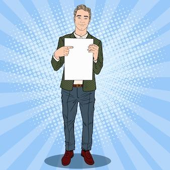Поп-арт бизнесмен, указывая на чистый лист бумаги