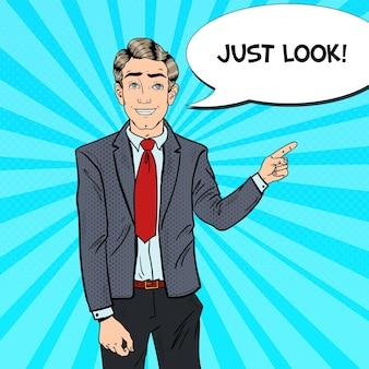 Поп-арт бизнесмен, указывая пальцем на копией пространства. деловая презентация.
