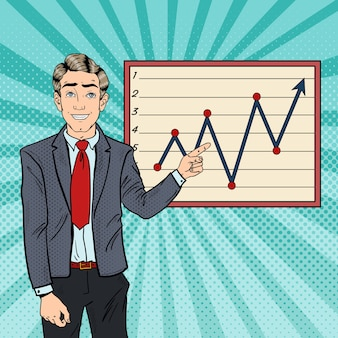Pop art businessman pointing growth graph. business planning.