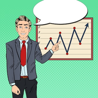 Pop art businessman pointing growth graph. business presentation.