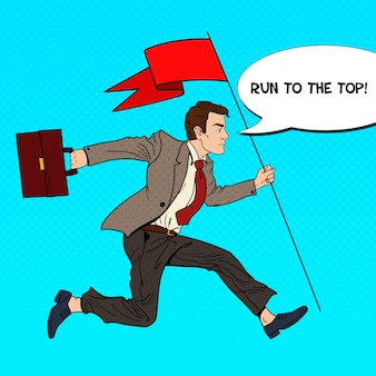Pop art businessman running with red flag to success.