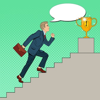 Поп-арт бизнесмен, поднимаясь по лестнице к золотому кубку.