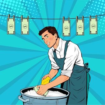 Pop art businessman washes the dollar
