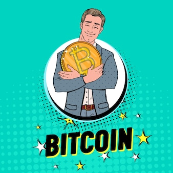 Поп-арт бизнесмен с большой золотой монетой bitcoin. концепция криптовалюты. рекламный плакат виртуальных денег.