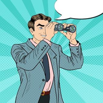 Поп-арт бизнесмен с биноклем ищет деньги с комической речи пузырь. иллюстрация