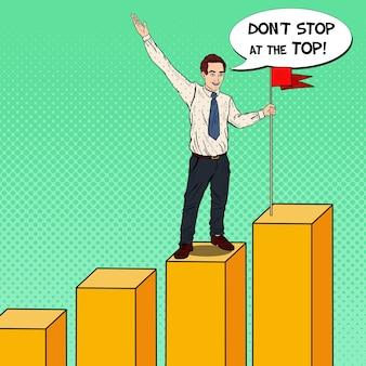 グラフの上にフラグを持つポップアート実業家。ビジネスの成功。