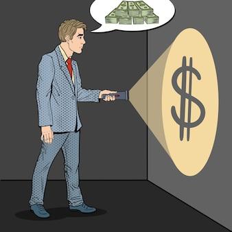お金を探して懐中電灯でポップアートのビジネスマン。