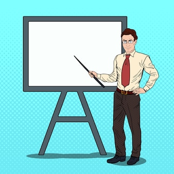 Pop art businessman with pointer stick and white board.