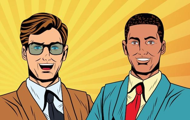 Pop art businessmen cartoon