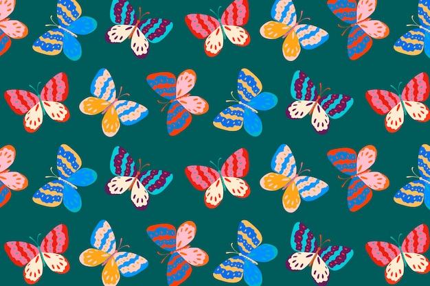 ポップアート蝶の背景、かわいいデザインベクトル