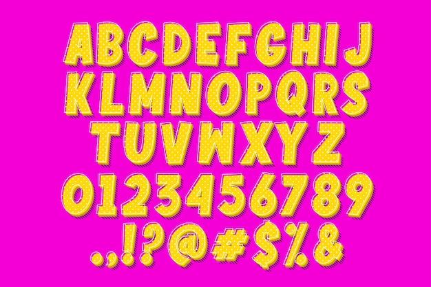 팝 아트 만화 글꼴 및 번호