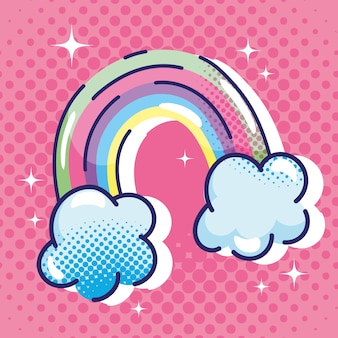 Pop art cartoon, rainbow clouds dream fantasy comic halftone design
