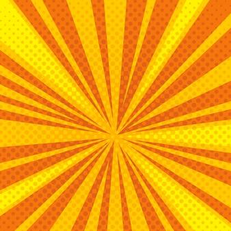 Pop art cartoon retro blast sunburst vector background