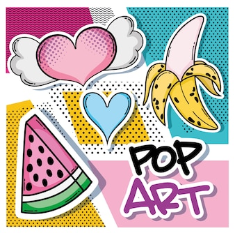 Pop art cartoons with bananas and love message
