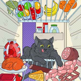 Pop art cat steals food from refrigerator. hungry pet in fridge.