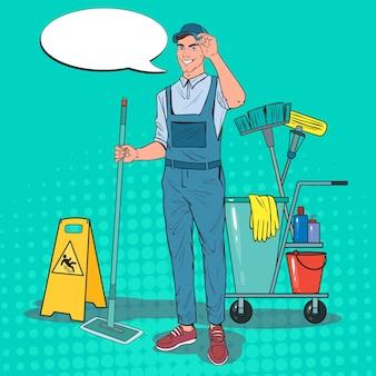 Pop art cleaner in uniform with mop