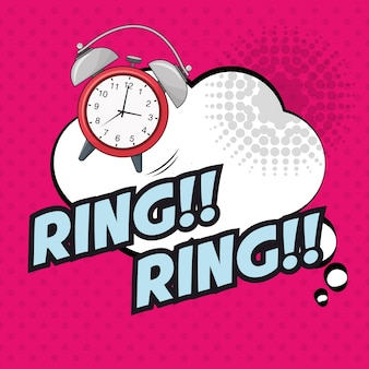 Поп-арт часы кольцо кольцо пузырь розовый пунктир