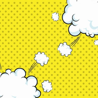 Pop art clouds explotion dotted