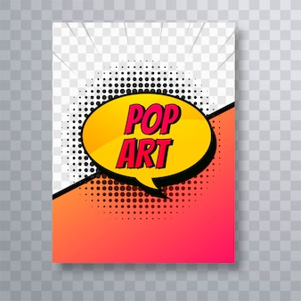 Pop art colorful comic book brochure design template vector
