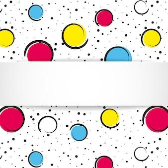 ポップアートのカラフルな紙吹雪の背景。大きな色の斑点と黒い点とインクの線で白い背景上の円。ポップなアートスタイルの3 dの紙皿とバナー。明るいデザイン