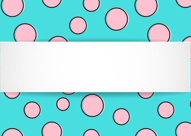 Поп-арт красочный фон конфетти. большие цветные пятна и круги на белом фоне с черными точками и чернильными линиями. баннер с 3d бумажной тарелкой в стиле поп-арт.