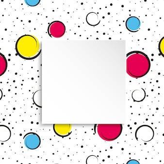 ポップアートのカラフルな紙吹雪の背景。大きな色の斑点と円