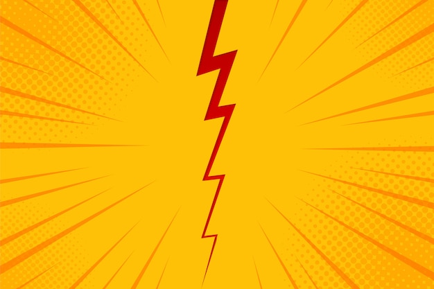 Pop art comic background lightning blast halftone dots.