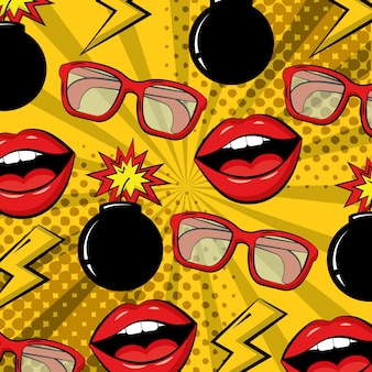 Pop art comic bomb glasses lips background