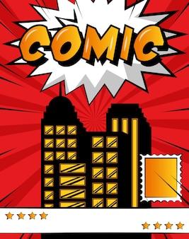 Pop art comic book city vintage style