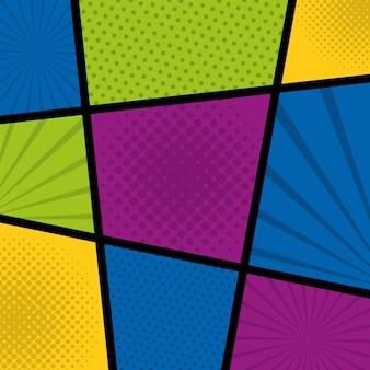Pop art comic colored dots sunburst background