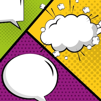 Pop art comic empty speech bubble set on colored background