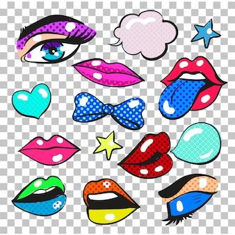 Pop art comic fashion patches, stickers set