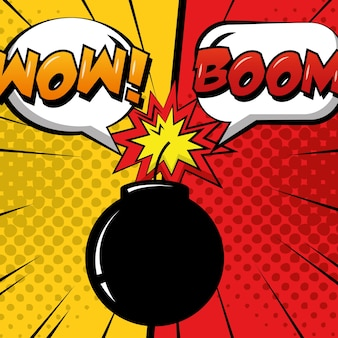 Pop art comic humor bomb boom speech bubbles dots background