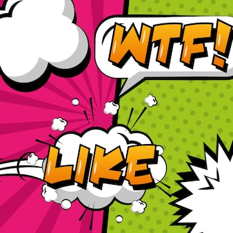 Pop art comic message wtf and like cloud explosion effects