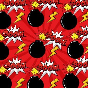 Pop art comic pattern bomb boom explosion background