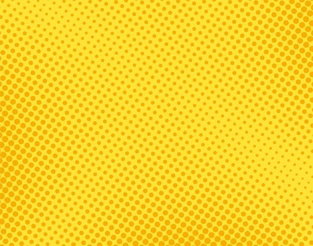 ポップアートのコミックパターン。ハーフトーンの点線の背景。円の黄色のテクスチャ。漫画のビンテージプリント
