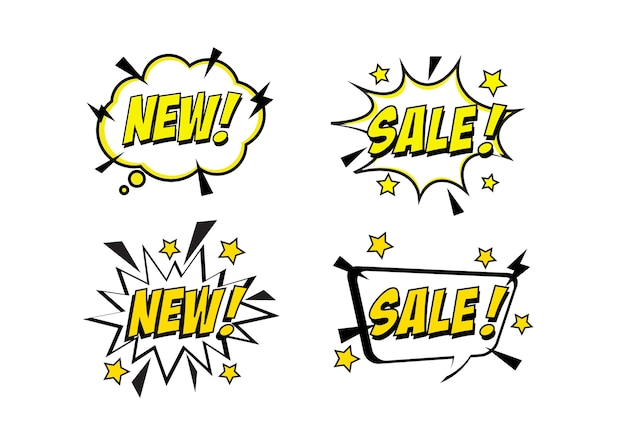 Pop art comic sale discount promotion banner