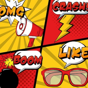 Pop art comic set megaphone glasses bomb and thunderbolt