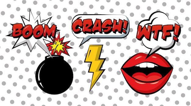 Pop art comic set mouth bomb and ray vintage style
