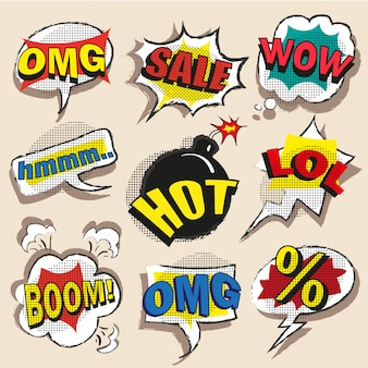 Pop art comic speech bubble set with abbreviations