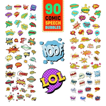 Pop art comic speech bubbles collection with funny text