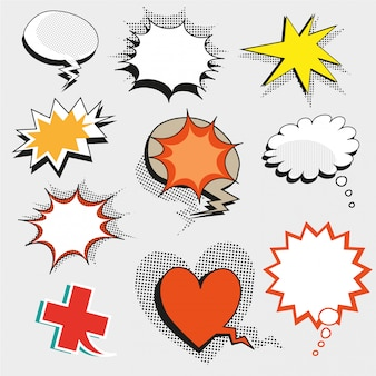 Pop art comic speech bubbles, shapes and signs