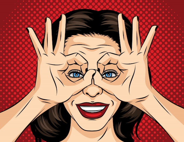 Pop art comic style illustration of a young woman face. a girl in search of something. the girl crossed her fingers and looks like through binoculars. face of a brunette with red lipstick