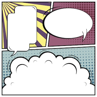 Pop art comic with spaces on blank