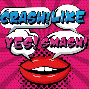 Pop art comic woman lips crash like yes smash burst dots background