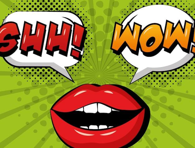 Pop art comic woman lips shh and wow speech bubble retro style